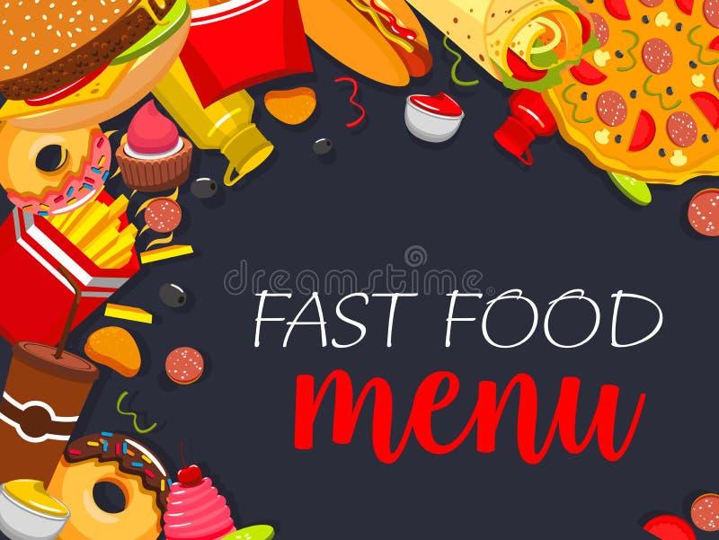 Download Affiche Van Het Snel Voedsel De Vectormenu Vector Illustratie - Illustratie bestaande uit pizza, combo: 107707465