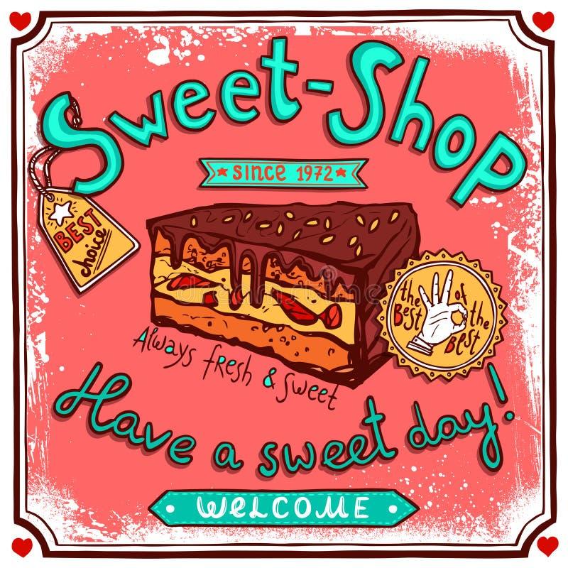Affiche van het Sweetshop de uitstekende suikergoed vector illustratie