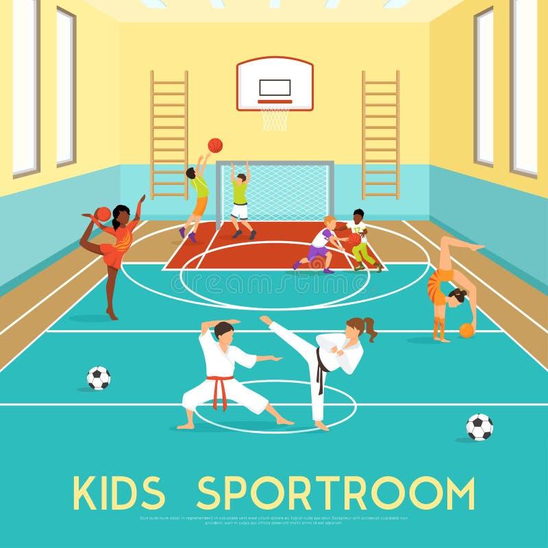 Affiche van Jonge geitjes Sportroom vector illustratie