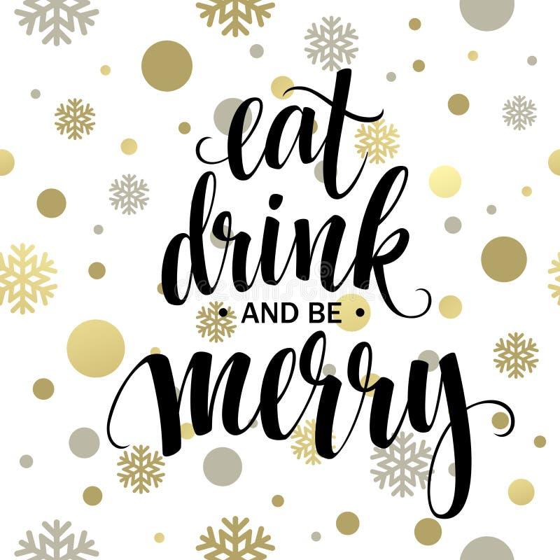 Affiche van letters voorzien eet drank en is vrolijk stock illustratie