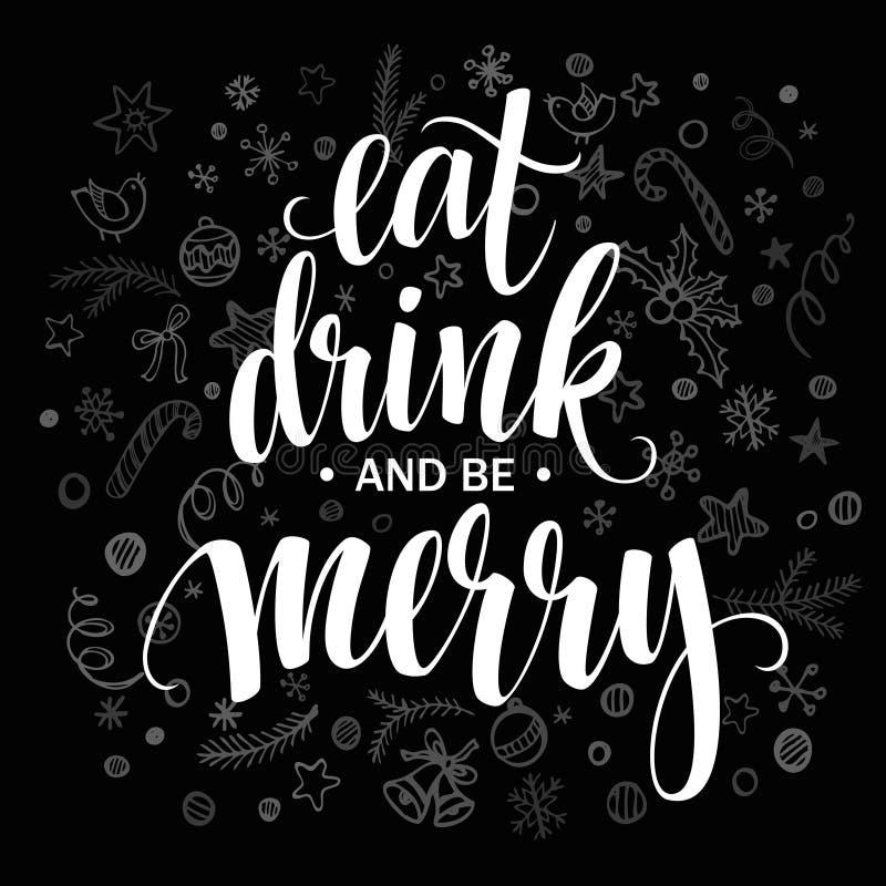Affiche van letters voorzien eet drank en is vrolijk Vector royalty-vrije illustratie