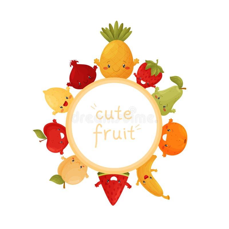 Affiche van leuke vruchten Pretkarakter vector illustratie
