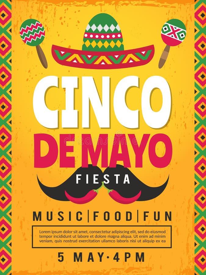 Affiche van Mexicaanse fiesta Ontwerpsjabloon van partijuitnodiging stock illustratie