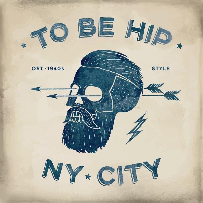 Affiche van uitstekend schedel hipster etiket Retro oude schoolreeks Vectorillustratie met typografisch voor t-shirtdrukken stock illustratie