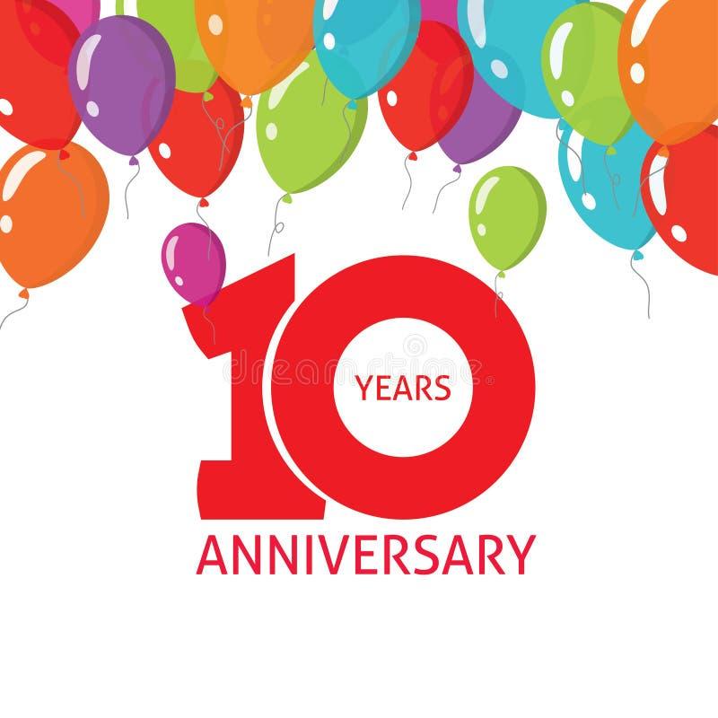 Affiche van verjaardags de 10de ballons, 10 van het bannerjaar ontwerp royalty-vrije illustratie