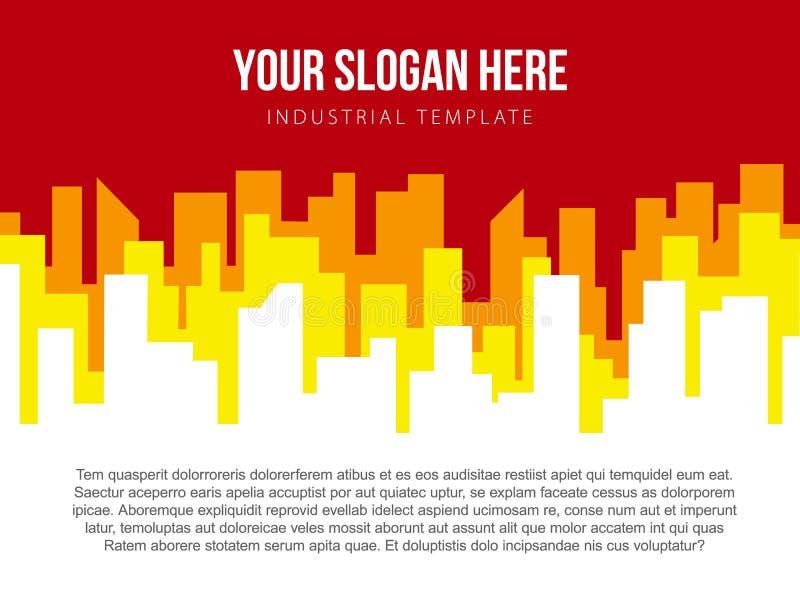 Affiche vectormalplaatje met rode en oranje stadshorizon royalty-vrije illustratie