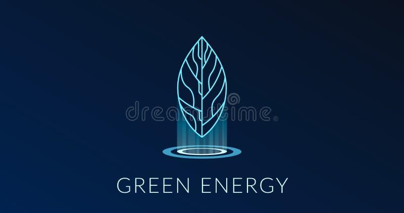 Affiche verte d'énergie avec le logotype d'hologramme de feuille illustration de vecteur