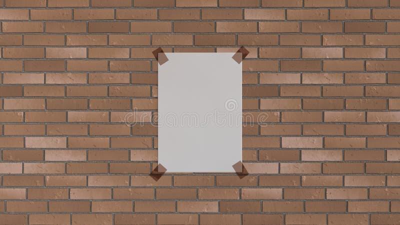 Affiche verticale blanche de blanc attachée du ruban adhésif au mur de briques illustration stock