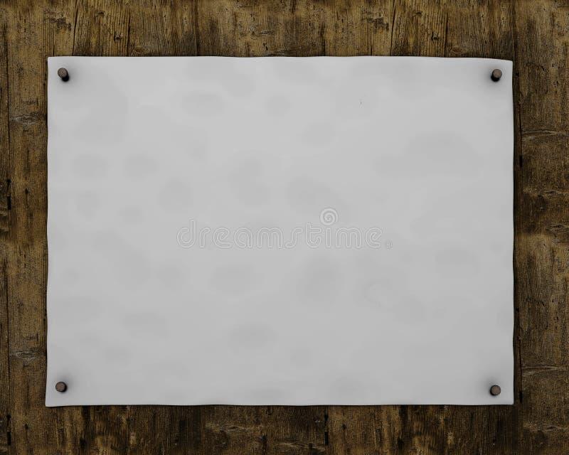 Affiche vide sur le panneau en bois illustration libre de droits