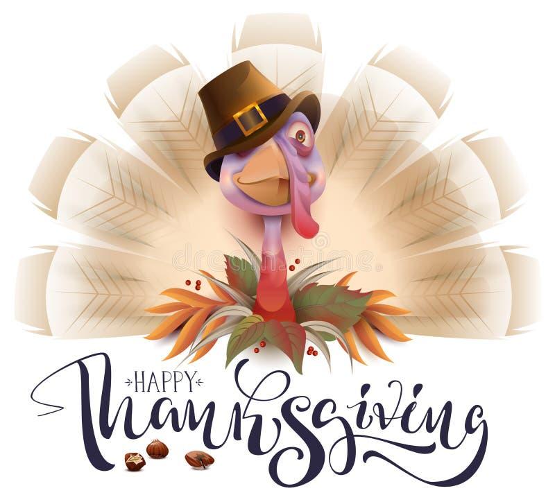 Affiche vivante de jour de thanksgiving d'oiseau de dinde d'amusement Carte de voeux heureuse des textes de thanksgiving illustration stock