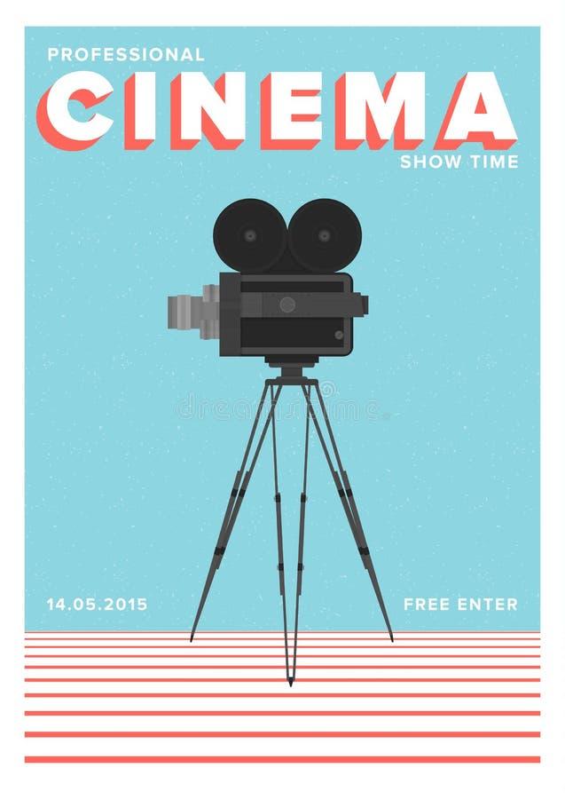 Affiche of vlieger het malplaatje voor professionele bioskoop toont tijd of filmpremière met filmcamera die zich op driepoot bevi vector illustratie