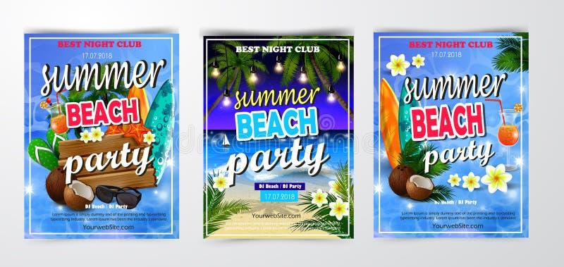Affiche voor de zomer en de achtergrond van de strandpartij royalty-vrije illustratie