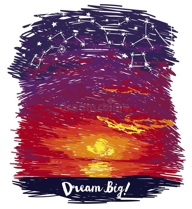 Affiche voor dromen met oceaanzonsondergang en sterrige hemel in schetsstijl vector illustratie