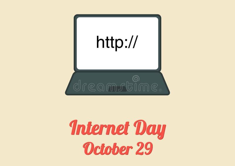 Affiche voor Internet-Dag (29 Oktober) stock illustratie