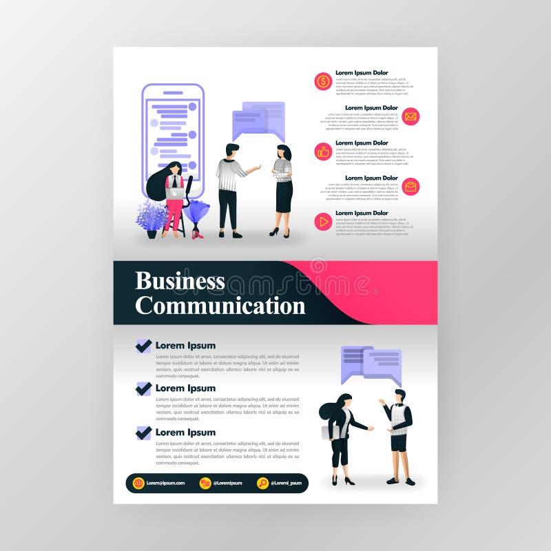Affiche voor mededeling in zaken, seminarie en bedrijfsmotivatie Marketing en groepswerk vectorillustratieconcept voor Web vector illustratie