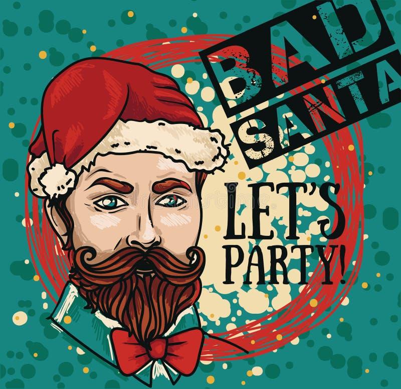 Affiche voor slechte santapartij met de aantrekkelijke mens in Kerstmanhoed vector illustratie