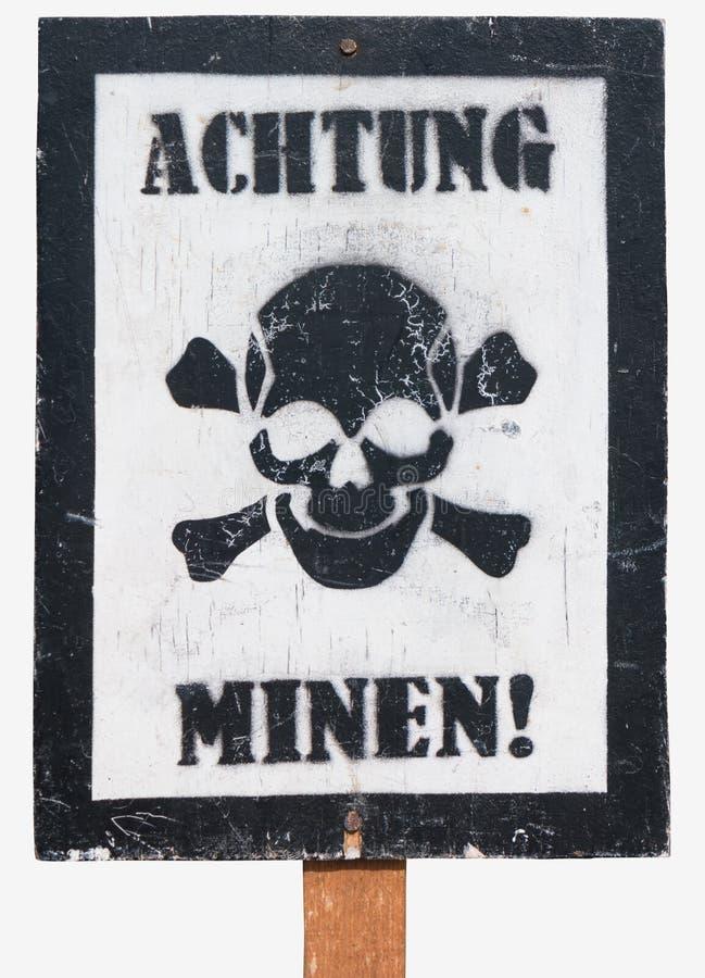 Affiche - Voorzichtigheid, mijnen in het Duits stock foto