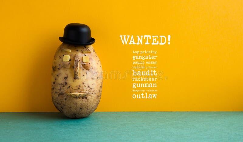 Affiche voulue de bandit de pomme de terre de haute priorité Mur démodé de jaune de pomme de terre de chapeau noir de lanceur de  image libre de droits