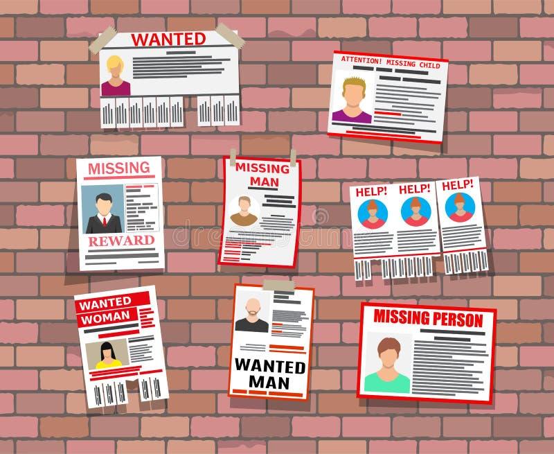 Affiche voulue de papier de personne Manquer annoncent illustration de vecteur