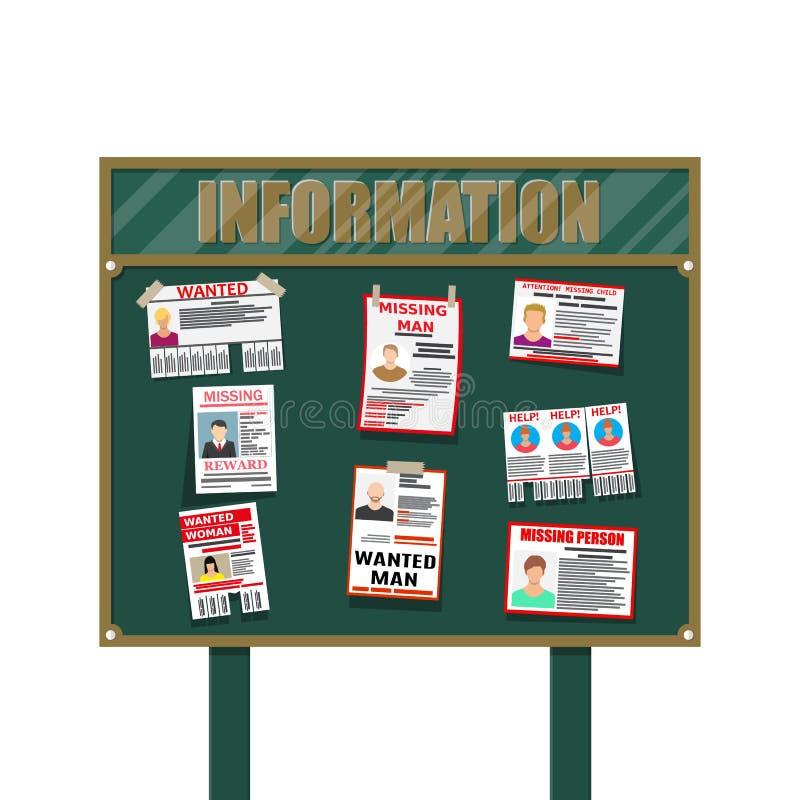 Affiche voulue de papier de personne Manquer annoncent illustration stock