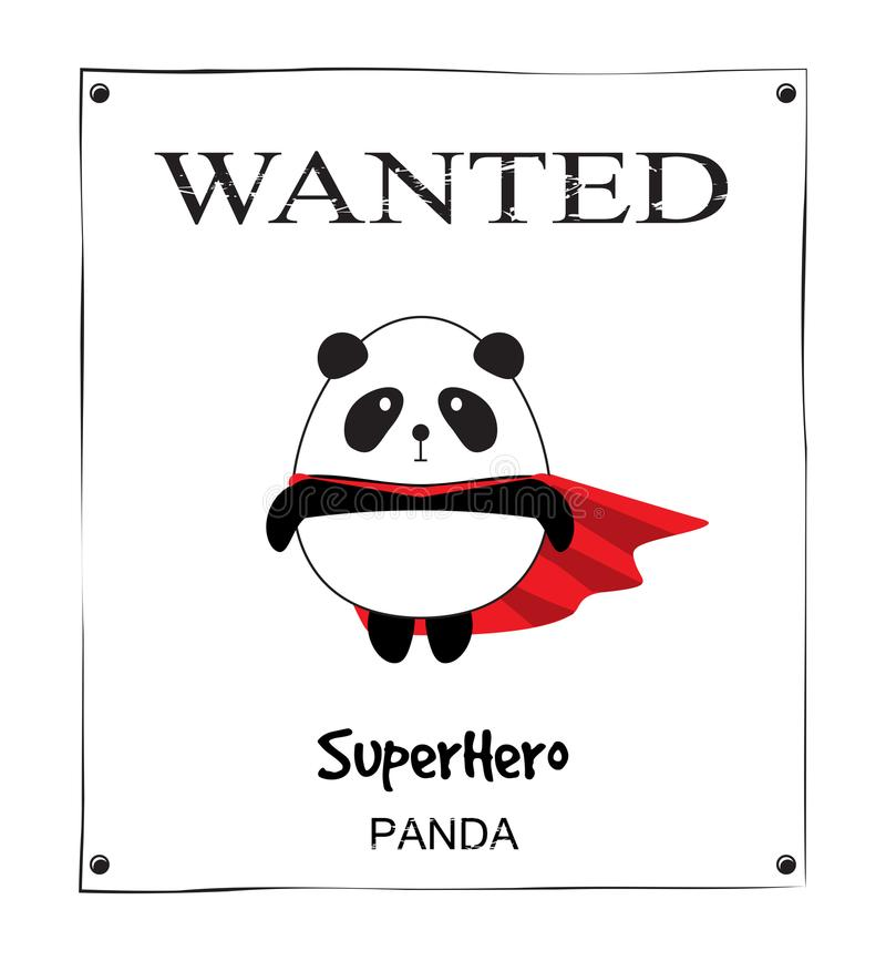 Affiche voulue petit Panda Superhero mignon illustration de vecteur