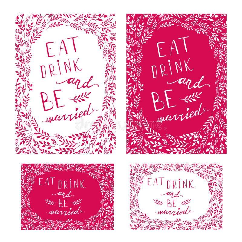 Affichehuwelijk het van letters voorzien eet drank en is gehuwd vector illustratie