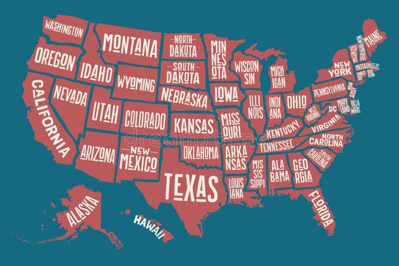 Affichekaart de Verenigde Staten van Amerika met de namen van de staat stock illustratie