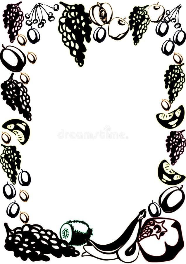 Affichemalplaatje met hand getrokken vruchten en bessen voor het menuontwerp van de landbouwersmarkt vector illustratie