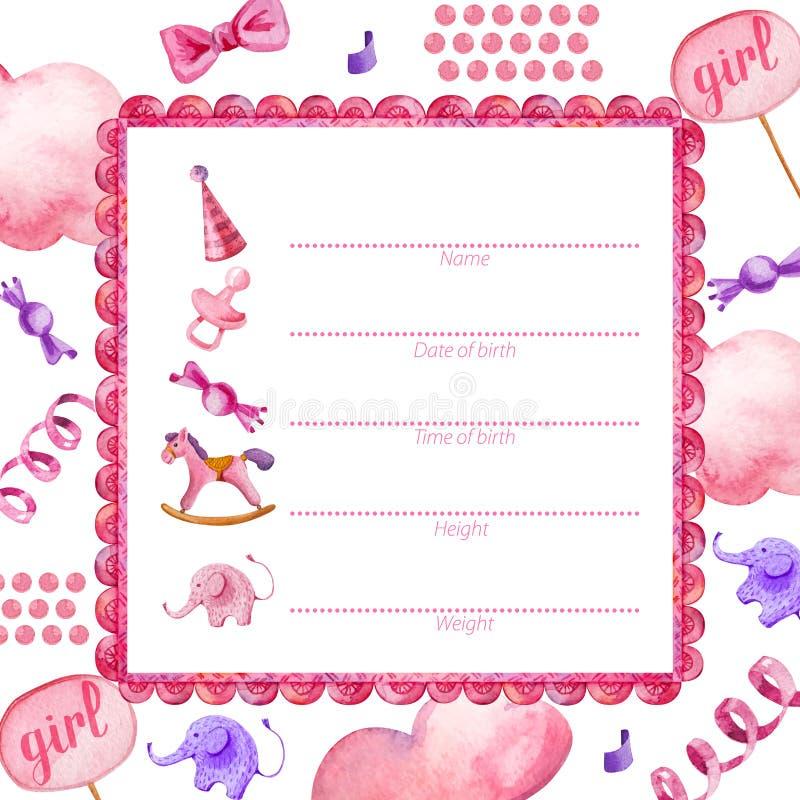 Affichemalplaatje voor pasgeboren baby girl_Baby Douche stock illustratie
