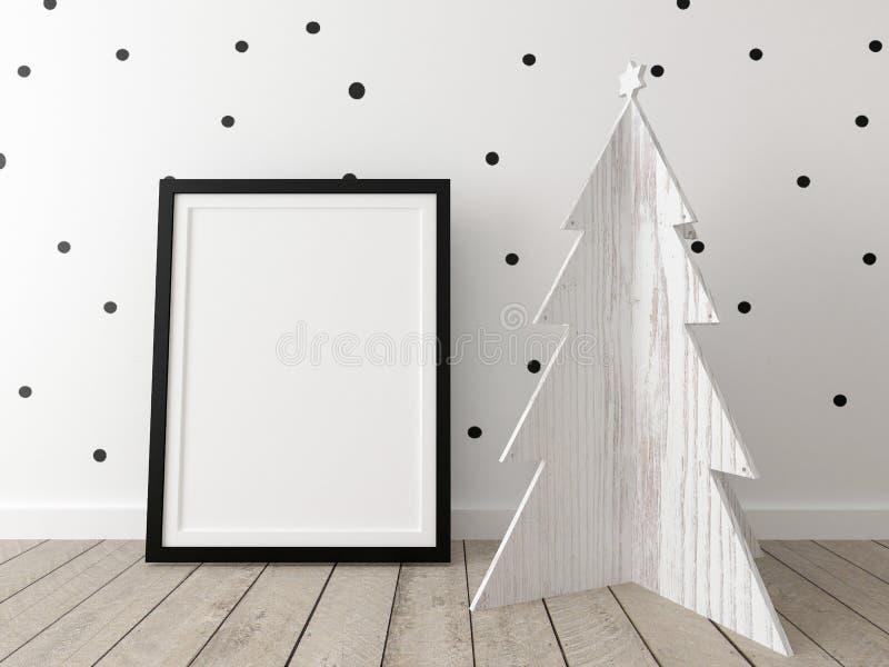 Affichemodel met een houten Kerstmisboom stock afbeelding