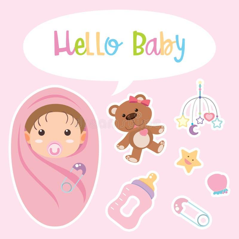 Afficheontwerp met baby in roze wordt verpakt dat royalty-vrije illustratie