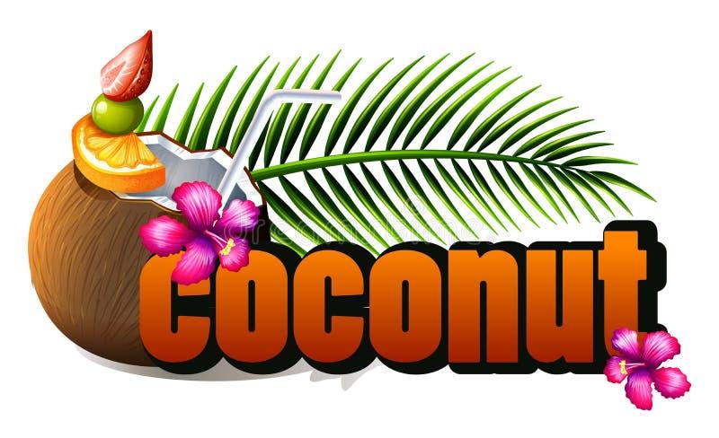 Afficheontwerp met verse kokosnoot en verwoording royalty-vrije illustratie