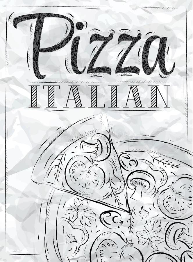 Affichepizza het Italiaans. Steenkool. royalty-vrije illustratie