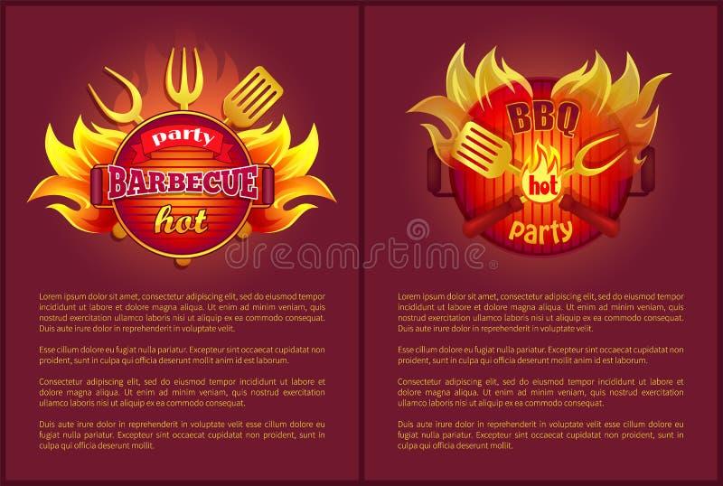 Affiches chaudes de vecteur de partie de barbecue brûlant des insignes illustration stock