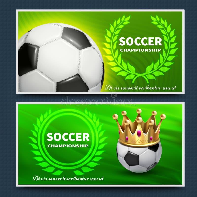 Affiches d'annonce de vecteur de Ligue de Football du football réglées illustration stock