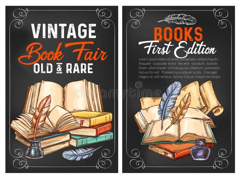 Affiches de croquis de vecteur ou livres de vintage de rareté illustration libre de droits