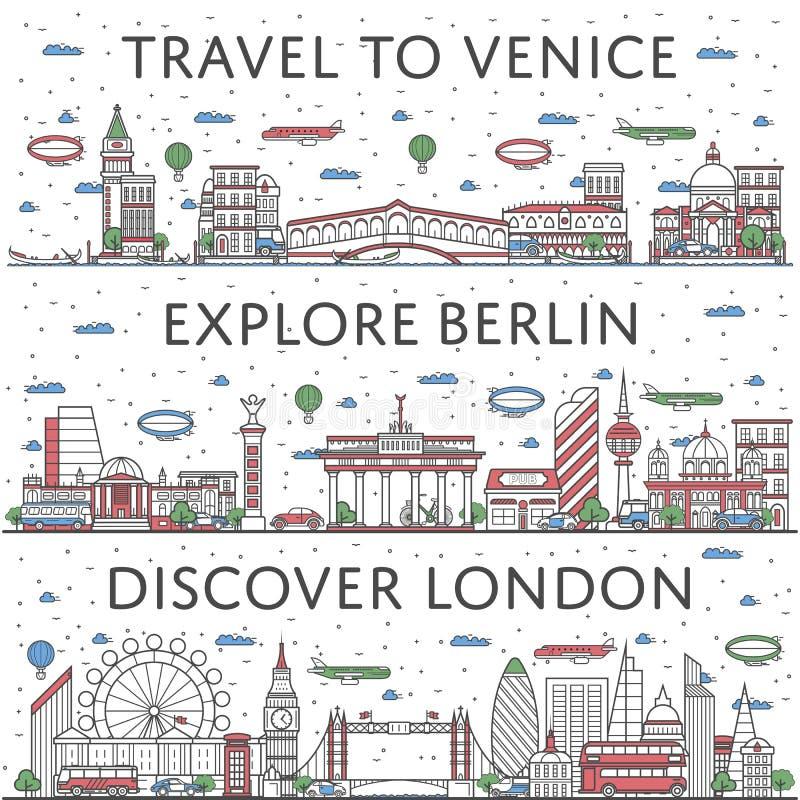 Affiches de déplacement européennes dans le style linéaire illustration stock