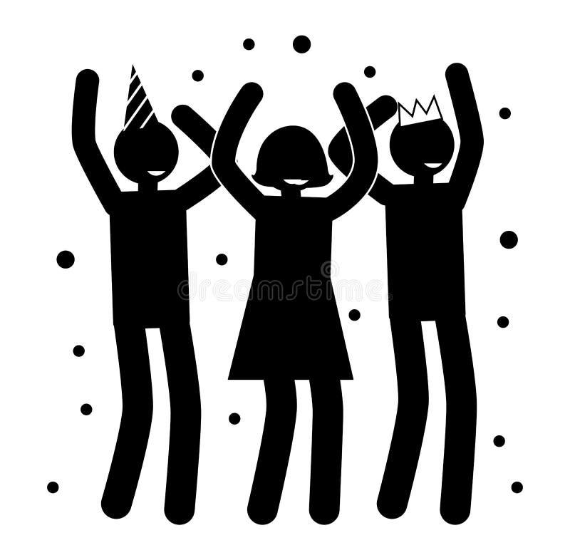 Affiches de fête d'anniversaire avec des silhouettes de personnes illustration libre de droits