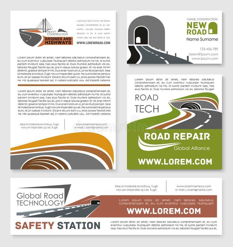 Affiches de service de construction de routes de sécurité de vecteur illustration stock