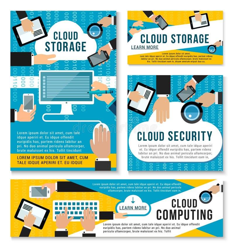Affiches de storage technology de nuage d'Internet de vecteur illustration libre de droits