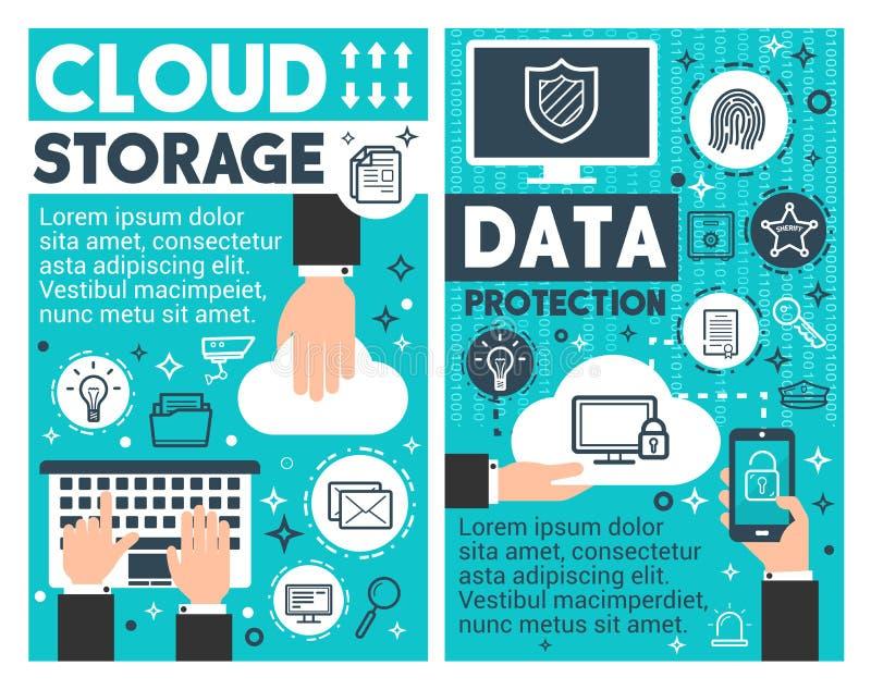 Affiches de technologie de l'information de stockage de nuage illustration libre de droits