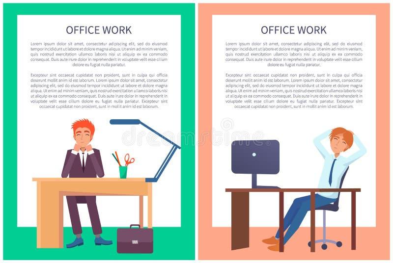 Affiches de travail de bureau rêvant des mâles s'asseyant au travail illustration libre de droits