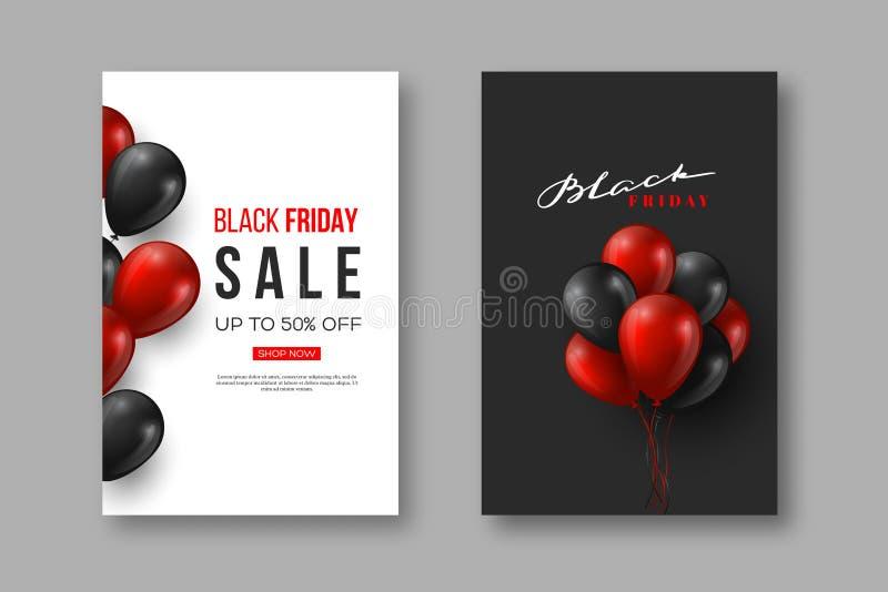 Affiches de vente de Black Friday Conception typographique avec les ballons brillants réalistes et le lettrage tiré par la main,  illustration libre de droits