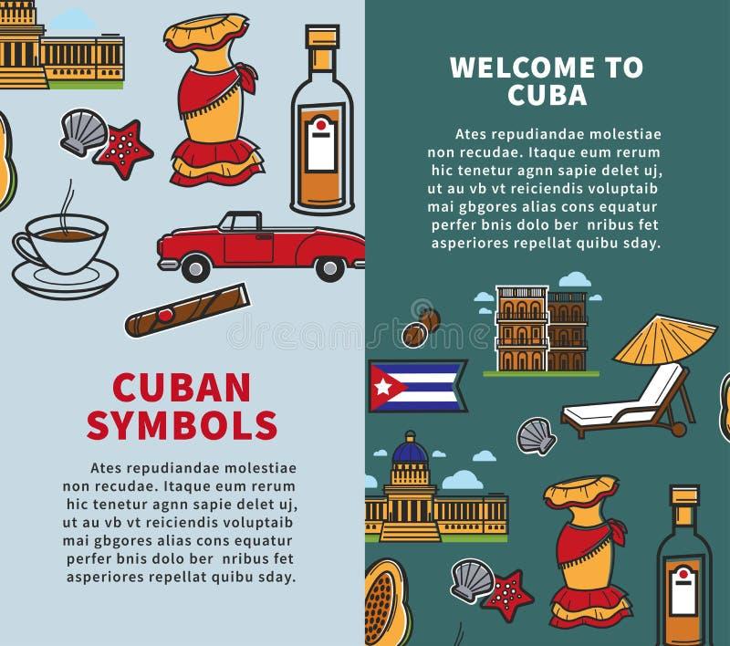 Affiches de voyage du Cuba des points de repère célèbres de symboles ou de tourisme de pays illustration stock