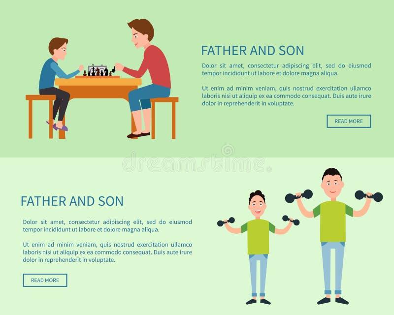 Affiches de Web de père et de fils avec le bouton poussoir lu illustration de vecteur