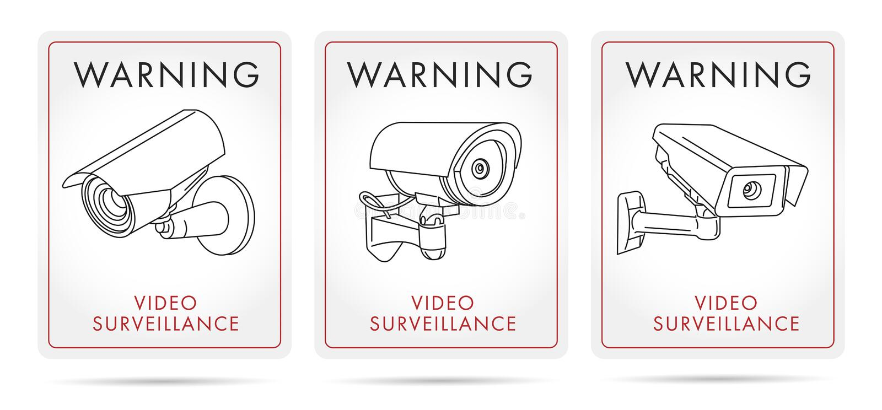 Affiches et autocollants visuels de surveillance avec l'icône linéaire de la caméra illustration stock