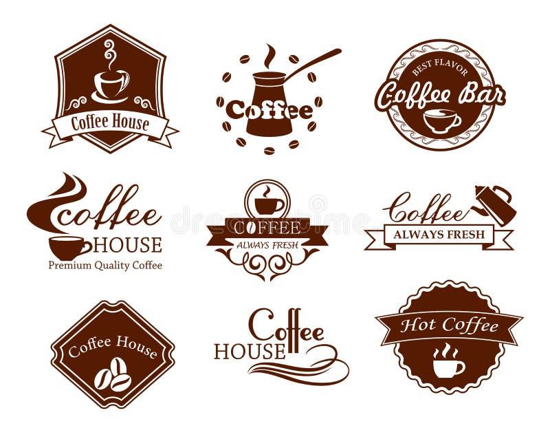 Affiches et bannières de café réglées illustration de vecteur