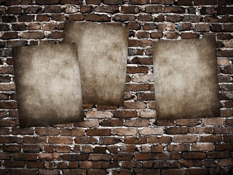 Affiches grunges sur le mur de briques illustration stock