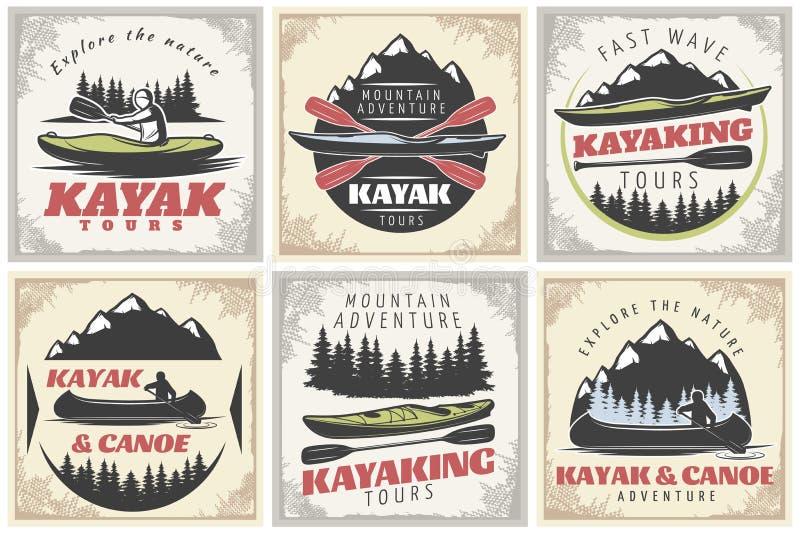 Affiches Kayaking de visites réglées illustration de vecteur