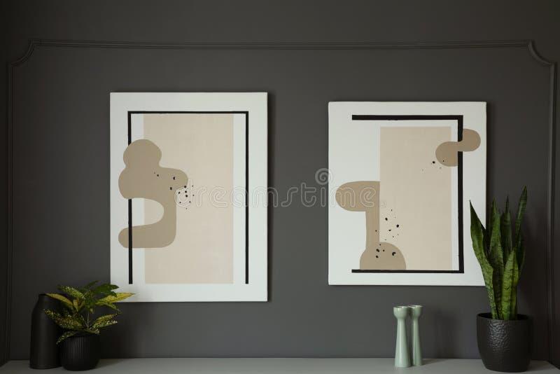 Affiches op grijze muur boven kabinet met installaties in woonkamerbinnenland Echte foto stock afbeelding